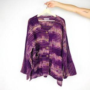 Yasuko Kurisaka Lagenlook Striped Purple Shacket